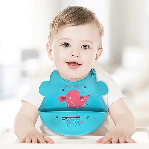 New Waterproof Soft Silicone Baby Feeding Stuff Cute Cartoon Print Baby Bibs