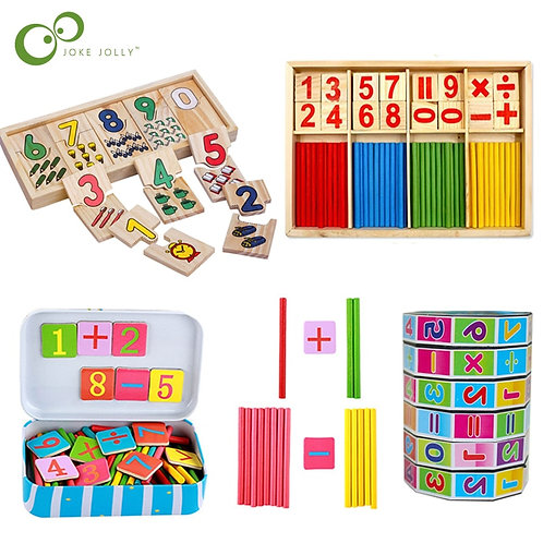Hot Selling Baby Education Toys Montessori Box Digital Clock Math Toy Number