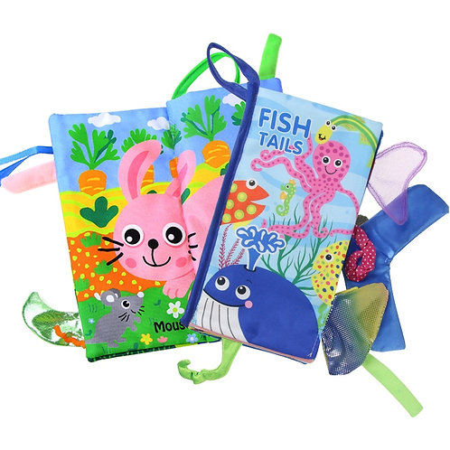 Animals Tail Stereo Soft Cloth Books Infant Fish Tails Baby Books Rattle Early