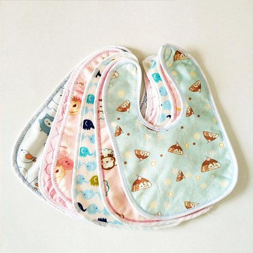 2pcs Waterproof Baby Bibs Cartoon Cotton Bib Newborns Bibs Burp Cloth Baby Scarf