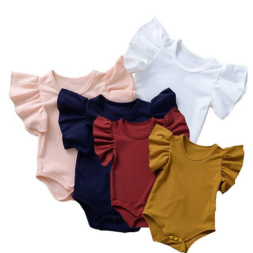 Summer Baby Girls Princess Cotton Ribbed Flutter Sleeve Onesie Jumpsuit Outfit