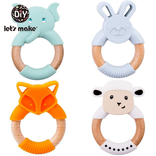 Let's Make 1pc Baby Toys Silicone Baby Teether Beech Wooden Ring Hand Teething