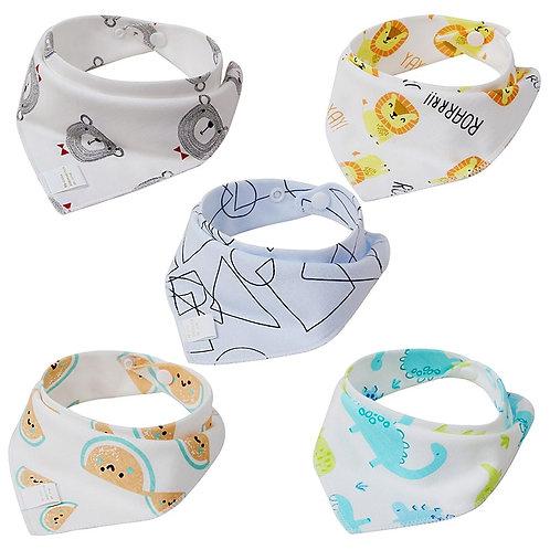 5 PCS/Lot Baby Bibs Bandana Cotton Burp Cloths Newborn Infant Toddler Girl Boy