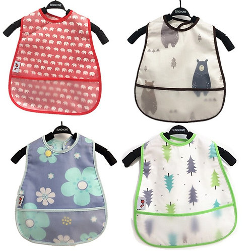 Adjustable Baby Bibs EVA Waterproof Lunch Feeding Bibs Baby Cartoon Feeding