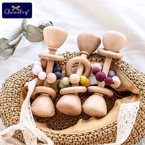 1PC Baby Teether Toys Beech Wooden Rattle Wood Teething Rodent Ring Silicone
