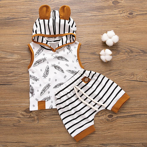 Summer Fashion Newborn Baby Boy Clothes Sleeveless Hooded Feather
