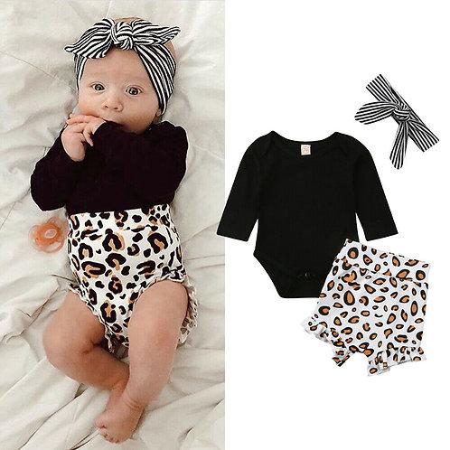 Leopard Print Newborn Clothes 3PCS  Winter Kids Baby Girls Long Sleeve Romper