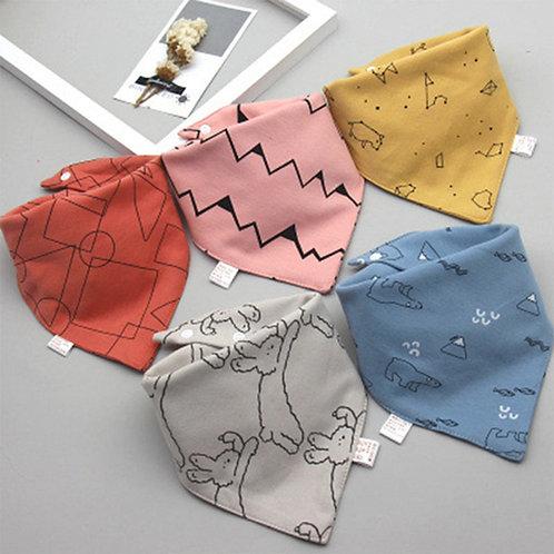 5Pcs/Set Baby Bibs Triangle Double Cotton Bandana Bibs Baby Boys Girls Babador