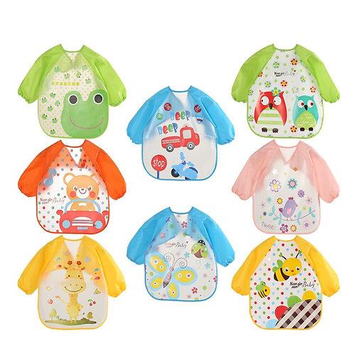 Cute Baby Waterproof Long Sleeve Apron Children Feeding Smock Bib Burp Clothes