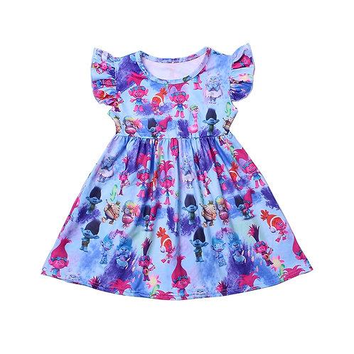 Baby Girls Clothes Cartoon Pattern Toddler Girls Flutter Sleeve Dress Boutique