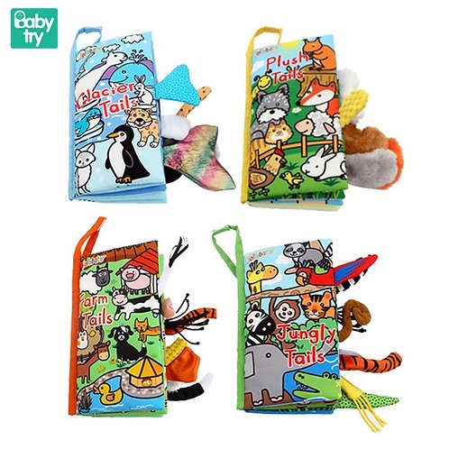 New Animals Tail Baby Cloth Books 3D Soft Reading Education Toys for Newborn