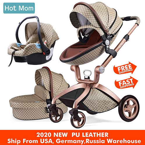 Baby Stroller 3 in 1,Hot Mom Travel System High LandScape Stroller With Bassinet