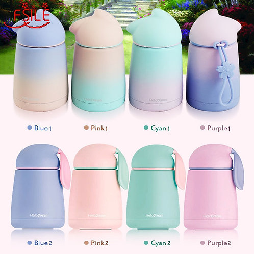 Cute Smart Cat Stainless Steel Thermos Mug Thermo Baby Child Cups Water Bottle