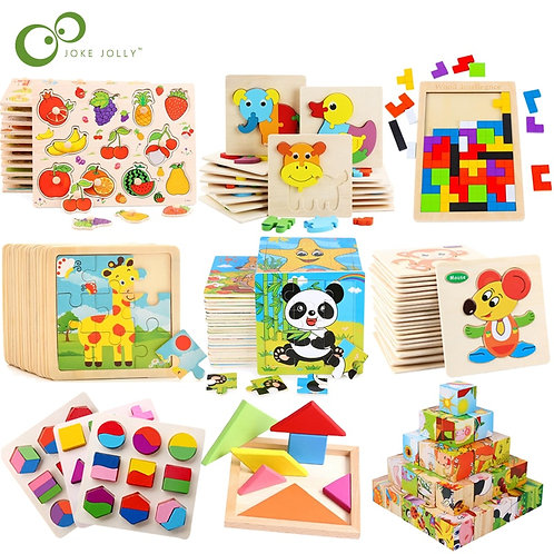Kid Early Educational Toys Baby Hand Grasp Wooden Puzzle Toy Shape Color Animal