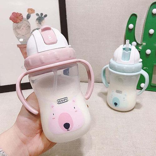 300ml Silicone Training Leakproof Cups Milk Babies Water Feeding Bottle Straw
