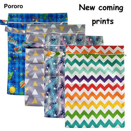 30*40cm PUL Printed Single Pocket Diaper Bag, Waterproof Wet Bag, Baby Nappy