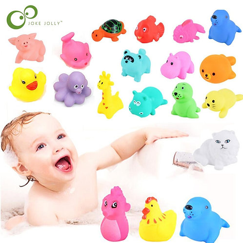 13Pcs Bath Toy Animals Swimming Water Toys Mini Colorful Soft Floating Rubber