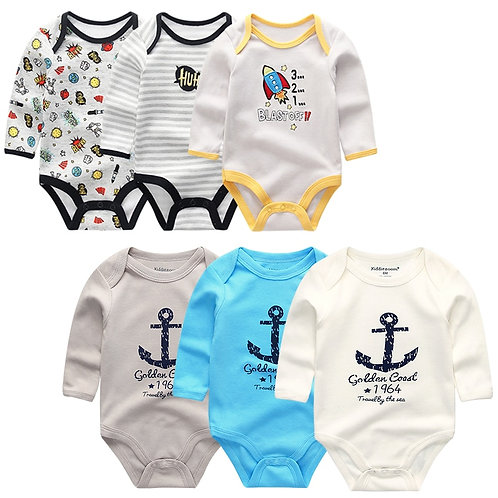 Kiddiezoom New Baby Boys Bodysuit Long Sleeve Cotton Baby Boy Girl Clothes