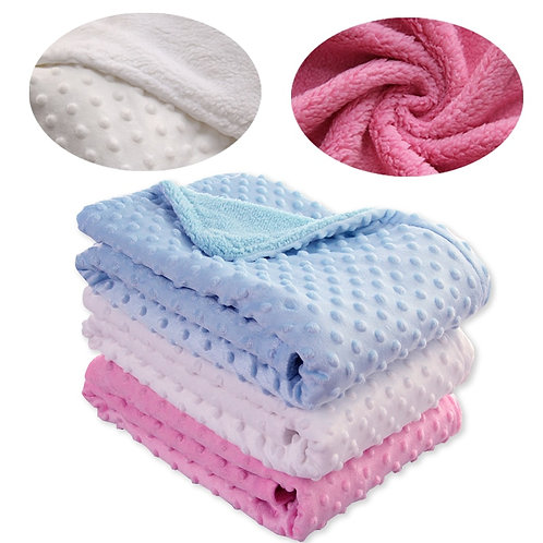Baby Blanket Swaddling Newborn Baby Diapers Thermal Soft Fleece Blanket Solid