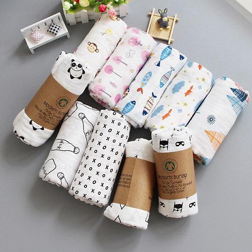 Muslin 100% Cotton Baby Blanket 120*120cm Soft Newborn Blankets 2 Layers Bath