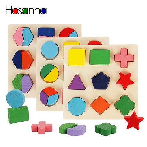 Wooden Geometric Shapes Sorting Math Montessori Puzzle Preschool Learning