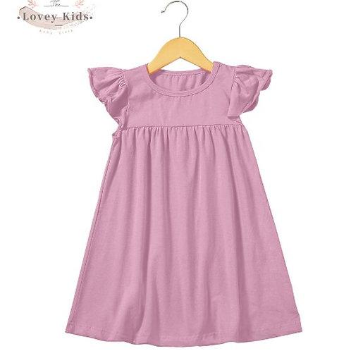 2020 Summer Baby Girls Dress 100% Cotton Soft Simple Solid Color Toddler Flutter