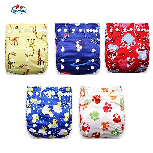 Babyland 2020 New Baby Diapers 5pcs/Set Cloth Nappy Girl Boy Print Pocket Diaper
