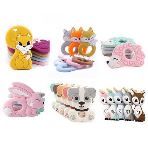 Tiny Rod BPA Free Food Grade Silicone Teethers Cartoon Animals Shape Pacifier