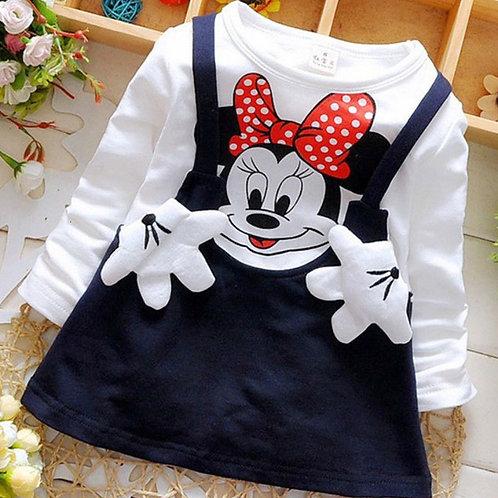 2020 New Summer Cotton Baby Girls Cartoon Long Sleeves Dress Children's Clothing