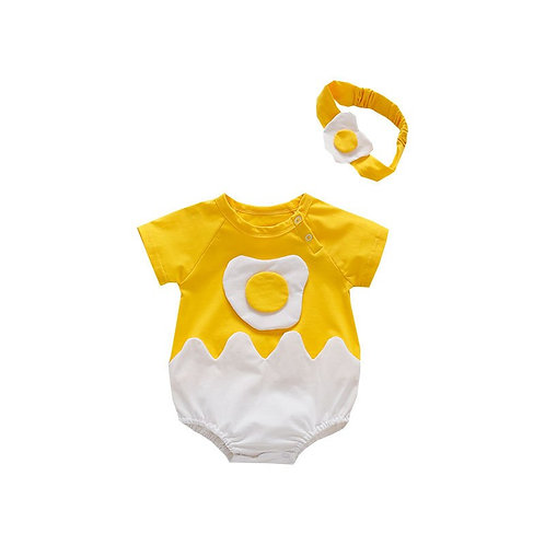 Infant Toddler Boys Girls Romper Short Sleeve One Piece Triangle Jumpsuit Fried