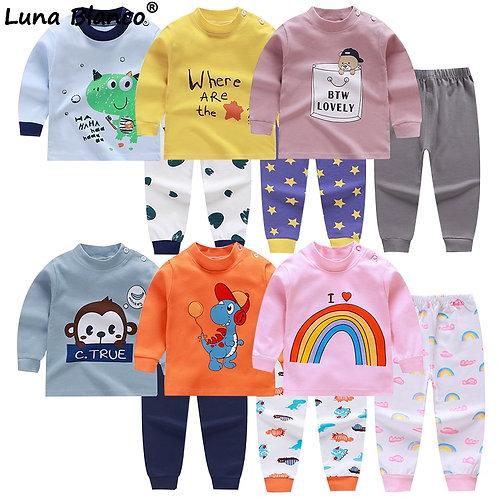 6m-5 Years Unisex 2pcs/Sets Baby Boys Girls Cotton Set Long Sleeves Baby