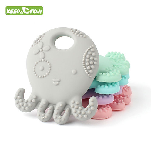 kEEP&GROW Octopus Silicone Teether BPA Free Mordedor Silicona Soother Chain Baby