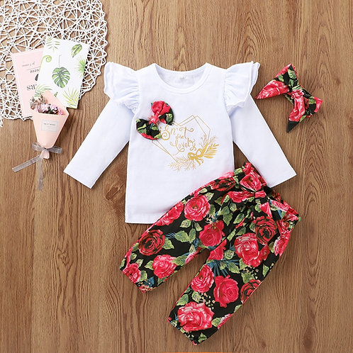 (0-24m) Baby Suit Autumn Suit Long-Sleeved Letter Printing Top  Pants  Headband