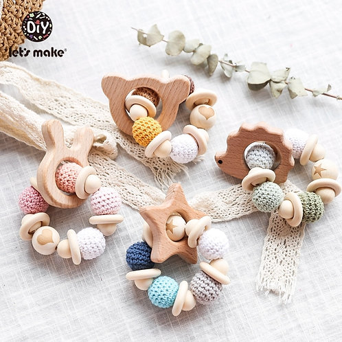 Let's Make 1PC Wooden Teether Hedgehog Crochet Beads Wood Crafts Ring Engraved