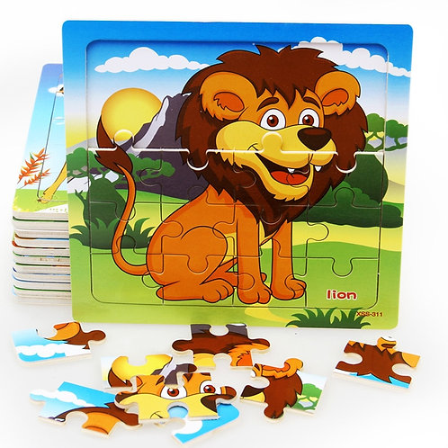 Baby Cognition Puzzle Wooden Toys for Kids 9/20 Small Piece Jigsaw Animal