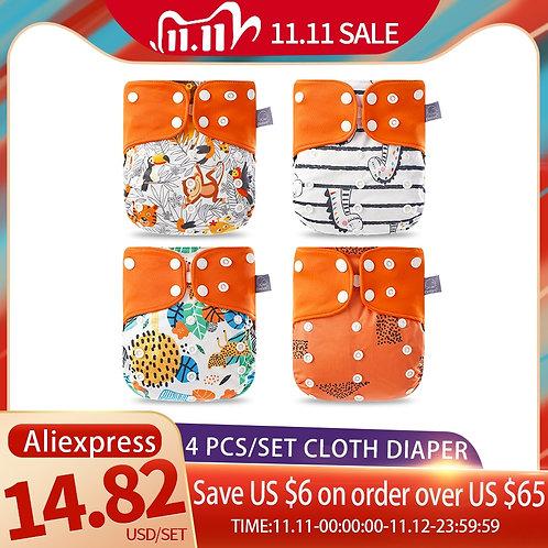 Elinfant Eco-Friendly Diaper Adjustable Reusable Coffee Fiber Diaper Pocket Fit