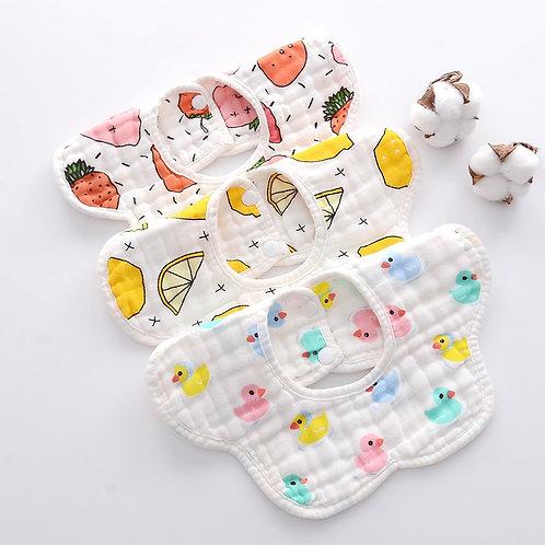Baby Bibs Rotating Cotton Bibs Cartoon Print Saliva Towel Baby Boys Girl Feeding