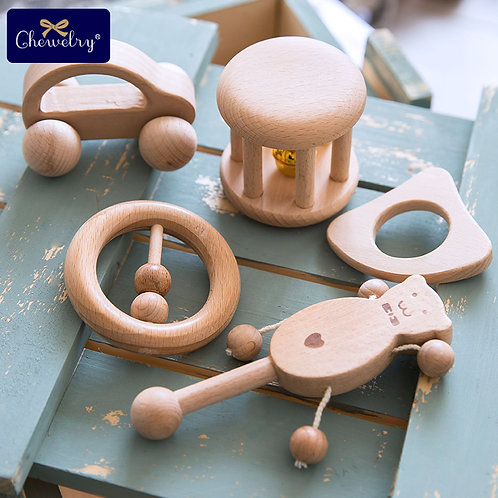 Puzzle Baby Toy Wood Teether Bell Rattles Beech Wooden Dog Car Shape Cartoon