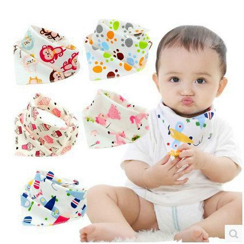 1pcs Security Bib Burp Cloth Baby Bibs Boys Girls Animal Print Smock Cotton Baby