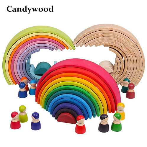 Baby Large Rainbow Stacker Wooden Toys for Kids Creative Rainbow Building