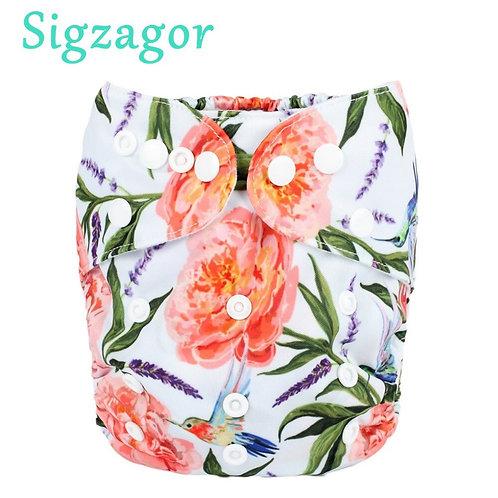 [Sigzagor] Fox Christmas Snow Baby Pocket Cloth Diaper Nappy,Reusable,Washable