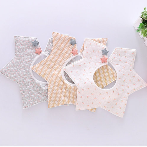 Lovely Flower Style Baby Waterproof Bibs Rotating Double Cotton Fashion Pattern