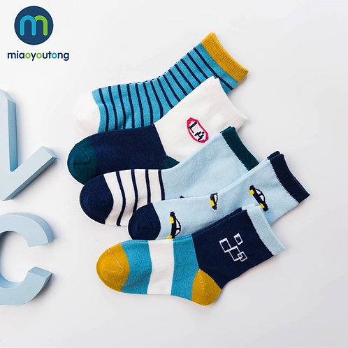 10 Pieces/Lot 5 Pair Car Pattern Lovely Safe Comfort Skarpetki Newborn Sock Kids