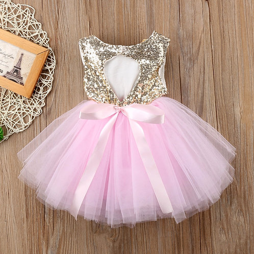 Princess Kids Baby Dress for Girls Fancy Wedding Dress Sleeveless Sequins Party