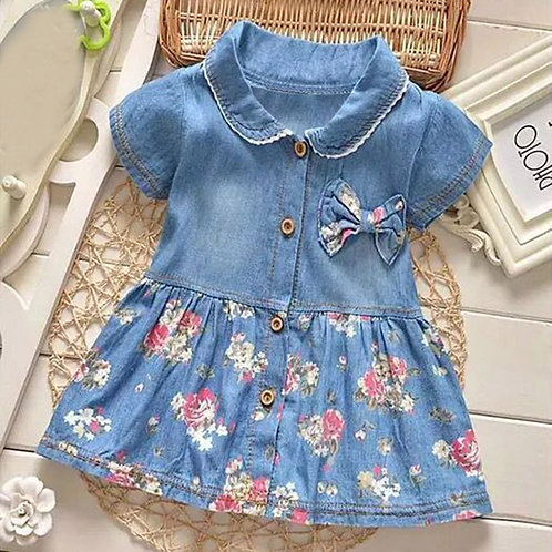 Baby Girls Dress Floral  Bowknot Princess Denim Dresses Children Short Sleeve