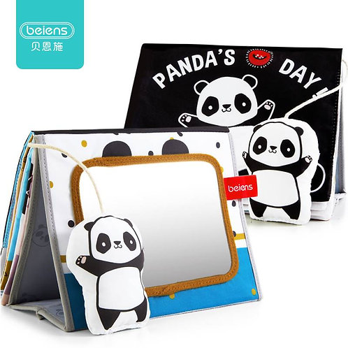 Beiens Baby Books Kids Educational Toys Panda Black and White Soft Cloth Book