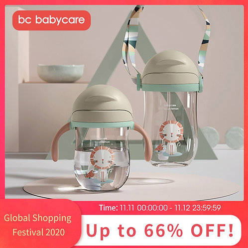 BC Babycare Baby Sippy Cup Gravity Ball Drinking Water Handle Baby Bottle