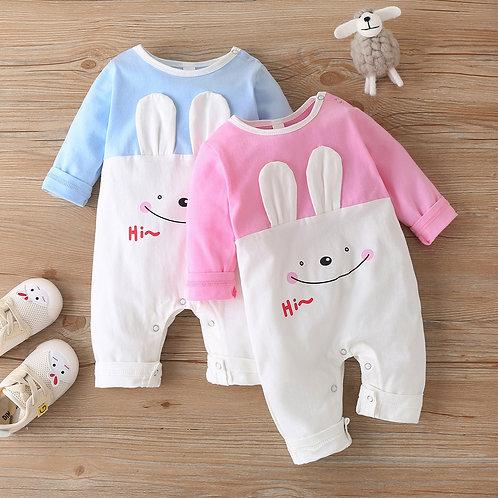 (3-24m) Children's Winter New Long-Sleeved Rabbit Ears Cartoon Pattern Romper