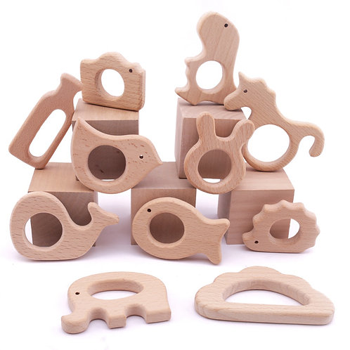 1pc Baby Wooden Teether Animal Teeth Bracelet Pendant for Pacifier Chain Free