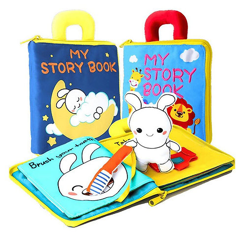 3D Soft Cloth Baby Books Animals&Vehicles Educational Toys for Kids Intelligence